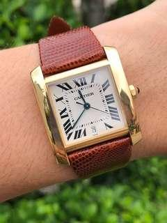 (SOLID 18K GOLD) Cartier Tank Francaise Automatic