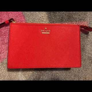 Small Red Leather Kate Spade Wristlet
