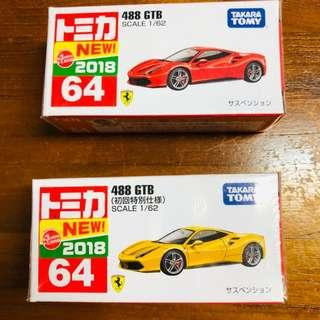 Tomica Ferrari 588 GTB Yellow 1st color + Red Set