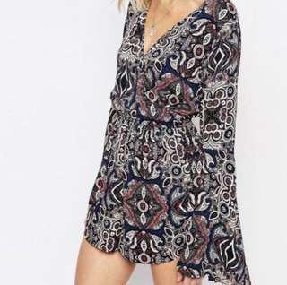A&F Abercrombie & Fitch Floral Bell Sleeved Romper