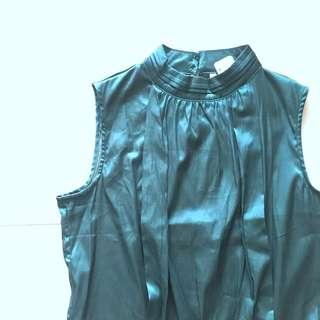 Instock! - BNWT Satin Teal Turquoise Pleated Sleeveless Fitted Top