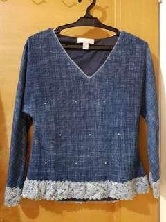 Blue Long Sleeves top