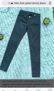 H&M Skinny Jeans (dark green)