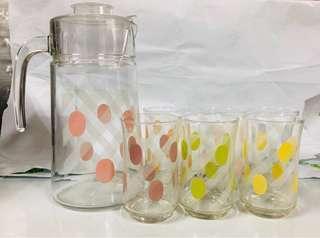 🚚 玻璃點點水壺水杯組