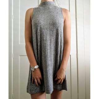 Grey ribbed turtle neck flowy mini dress