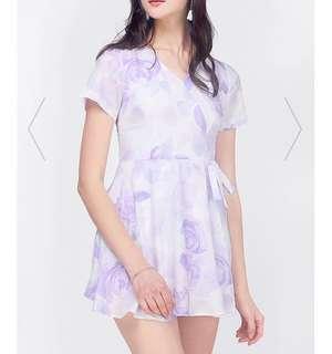 🚚 [Fayth] Oasis Printed Playsuit In Lavender