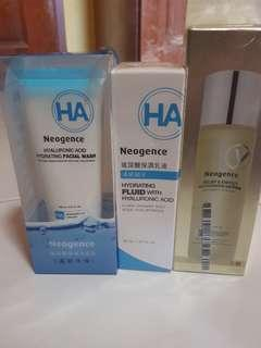 Neogence hydrating fluid, relief & energy recharging lotion, hydrating facial wash