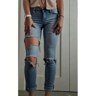 Jeanswest blue ripped super skinny jeans size 6