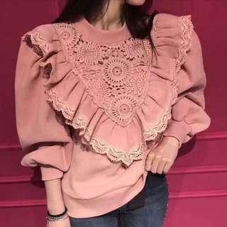 韓國lace 粉紅色上衣