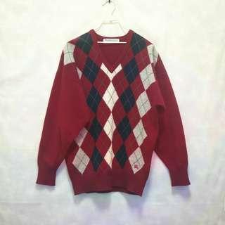 三件7折🎊 Burberry 毛衣 針織毛衣 紅 菱格紋 羊毛 電繡logo 極稀有 蘇格蘭製 老品 復古 古著 Vintage