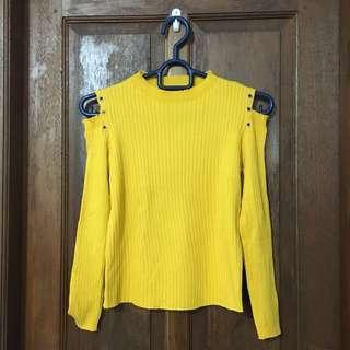 Top Knit Cut Shoulder Yellow