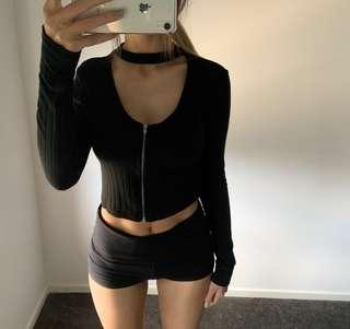 Zip up cropped ribbed top