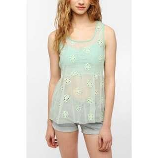 Urban Outfitters Pins And Needles Mesh Babydoll Top