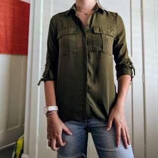 Atmosphere khaki button up shirt