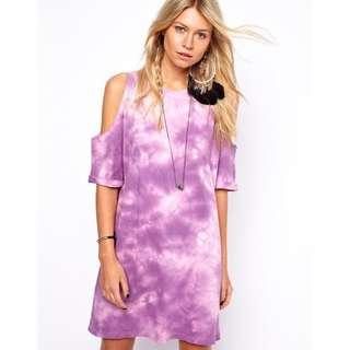 Asos Shift Dress In Tie Dye With Cold Shoulder