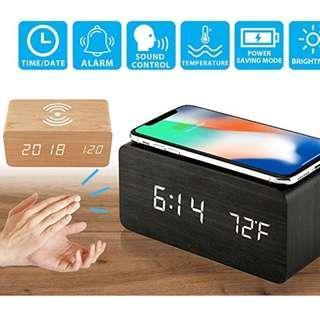 無線充電座枱鬧鐘+溫度 ; Wireless charger & alarm clock + temperature