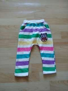 🚚 彩色橫條貓頭鷹內刷毛棉褲