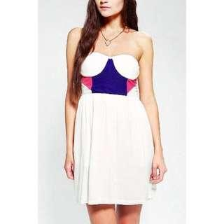 Urban Outfitters Sparkle & Fade Strapless Colorblock Dress