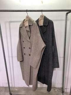 2143 細格手工羊毛大衣-裸格紋-F