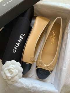BNIB Chanel Lambskin Cap Toe Ballerina Flats
