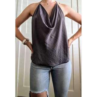 Grey/charcoal Bardot backless cowl cami