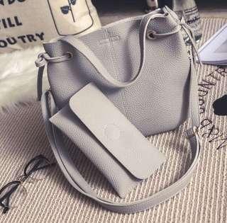 Grey Bucket Bag 2pcs bag set @$13