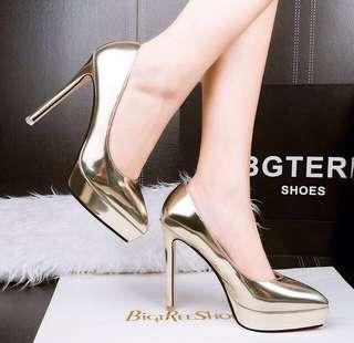 Evening Chrome Metallic Gold Platform Heels