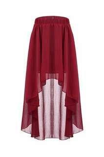Hi-lo Red Skirt