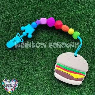 Handmade Silicone Rainbow beads Pacifier Clip + Burger teether combo