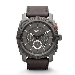Fossil Machine Chronograph Iron Gray Leather Watch