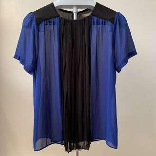 Blue and Black Chiffon Blouse