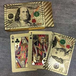Gold silver game poker cards