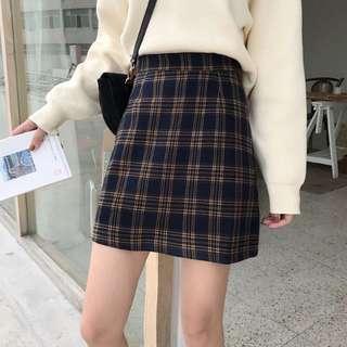 #725 Basic Checkered Plaid Skirt (PO)