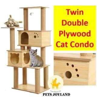 Double Twin Hut Cat Condo Scratching Tree