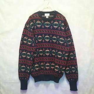 三件7折🎊 dunhill 毛衣 針織毛衣 大學T 深藍 幾何 圖騰 羊毛 極稀有 老品 古著 復古 Vintage