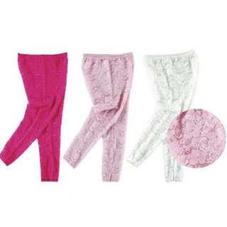 Luvable Friends Lace Footless Baby Girl Tights Legging - Pink/Hot Pink/ White IBY01558