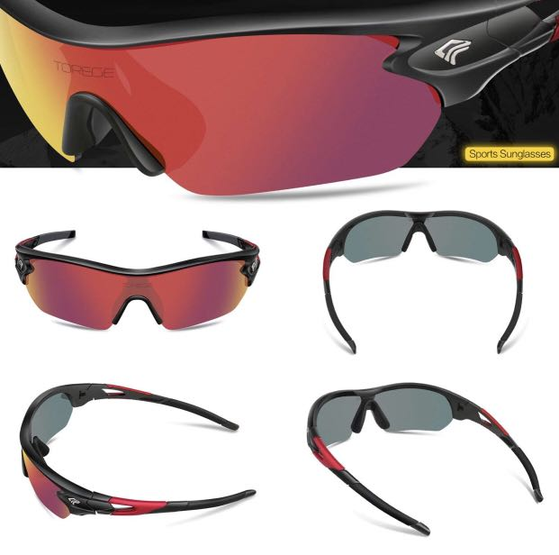 aa352007bf 1620) TOREGE Polarized Sports Sunglasses with 5 Interchangeable ...