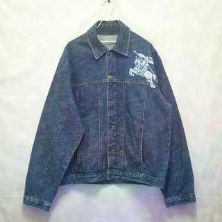 三件7折🎊 Burberry 牛仔外套 外套 深藍 大logo 極稀有 老品 復古 古著 Vintage