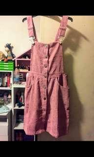 TEMT dusty rose pink velvet overall dress
