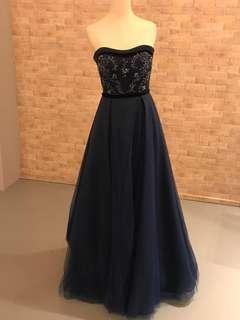 Dark Blue Strapless Evening Dress