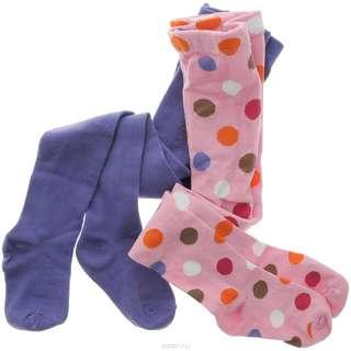 Luvable Friends 2 Pcs Pack Plain Purple & Pink Multi Dots Baby Girl Tight Legging IBY01563