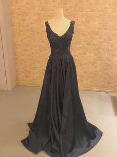 Dark Blue Evening Dress w/Straps
