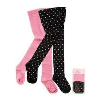 Luvable Friends 2 Pcs Pack Plain Pink & Black Polka Dots Baby Girl Tight Legging  IBY01568