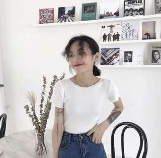 INSTOCK White ribbed crop