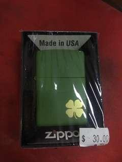 Zippo 4 Leaf Clover Green