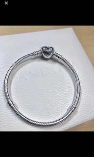 SALES!! Brand new pandora bracelet with heart crystal clasp.