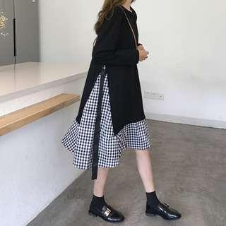 fake two grid tie dress