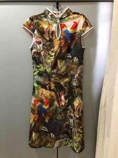 Animal print cheongsam dress