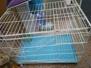 Cat cage with wheel. .Seldom use,cat refuse to go in