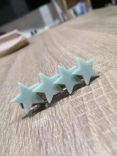 日本綠色星星髮夾
